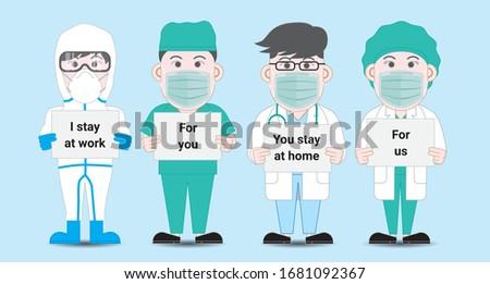 Poszter tartózkodás otthon orvosok arc orvosi Stock fotó © robuart