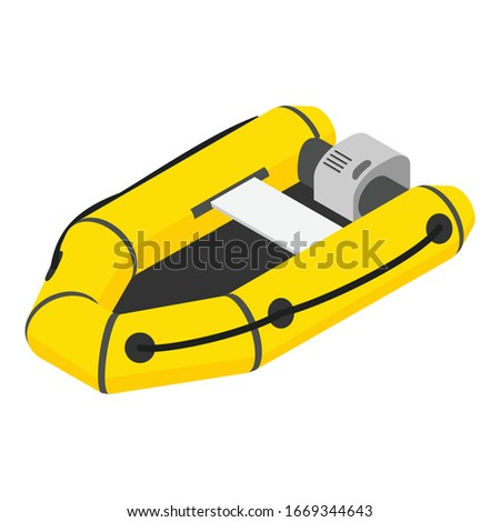 Inflatable Boat with Oars isometric icon vector illustration Stock photo © pikepicture