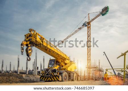 Photo stock: Construction · grue · ciel · bleu · nuage · bleu · architecture