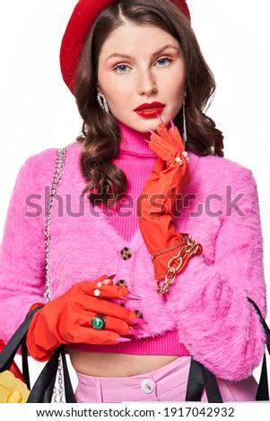 молодые · модель · розовый · чулки · белый · женщину - Сток-фото © gromovataya