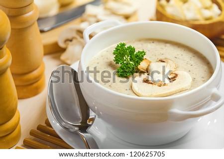 cremoso · cogumelo · sopa · comida · fundo · verde - foto stock © joker