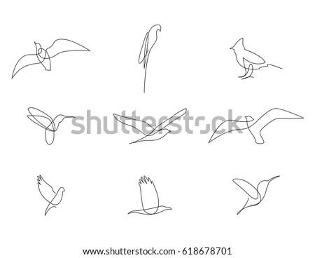 Bird Flying Continuous Line Stock photo © patrimonio