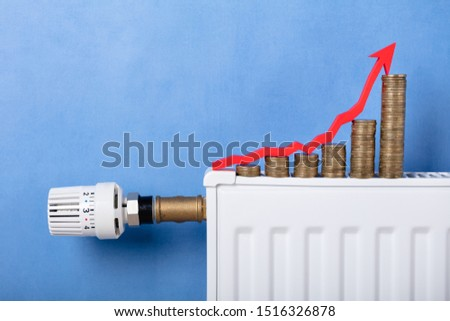 Monete crescita arrow radiatore primo piano Foto d'archivio © AndreyPopov