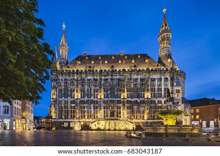 Aachen Town Hall and fountain Stock photo © benkrut