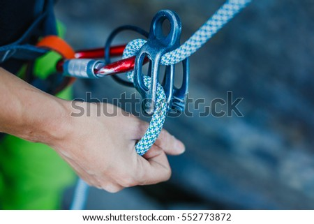 Climber's ropes and protective wear Stock photo © nomadsoul1