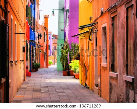 Venice Street with Ancient Buildings. Stock photo © ShustrikS