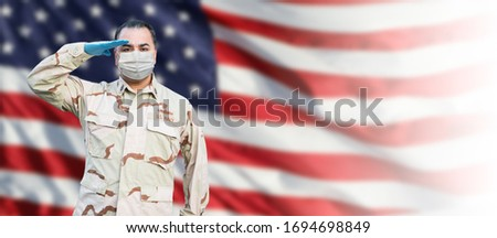 Male Navy Medical Personel Saluting Wearing Personnel Protective Stock photo © feverpitch