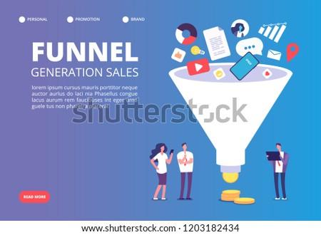продажи воронка вектора метафора поколение клиентов Сток-фото © RAStudio