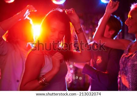 Lány éjszakai klub barna hajú klubber diszkó buli Stock fotó © robuart