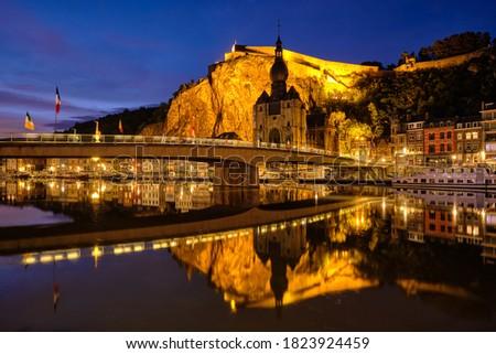 Noite ver cidade Bélgica igreja Foto stock © dmitry_rukhlenko