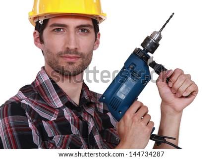 Handlowiec moc narzędzie budowy pistolet pracownika Zdjęcia stock © photography33