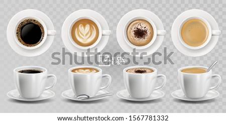 Fincan kahve kaşık yalıtılmış beyaz Stok fotoğraf © doupix