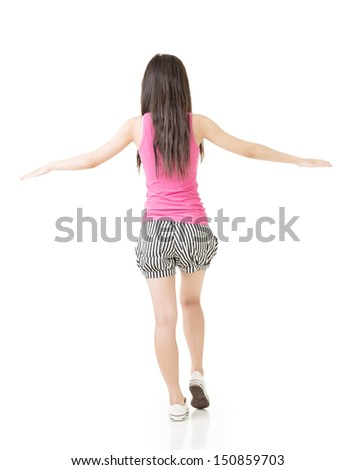Young asian woman walking on imaginary rope Stock photo © elwynn