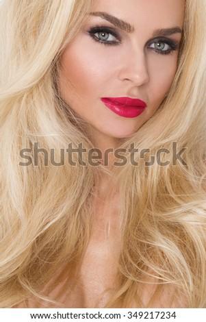 blond · meisje · portret · grote · borsten · aantrekkelijk · seks - stockfoto © fotoduki