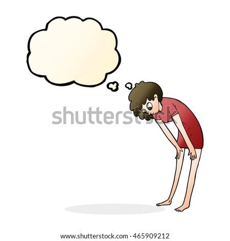 Cartoon женщину глядя ног мысли пузырь стороны Сток-фото © lineartestpilot