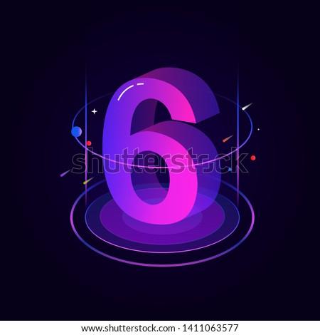 Aantal vector paars web icon ontwerp digitale Stockfoto © rizwanali3d