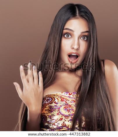 Brunette beauty posing Stock photo © konradbak