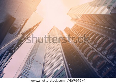 High glass skyscrapers with the sun shining background. Stock photo © tuulijumala