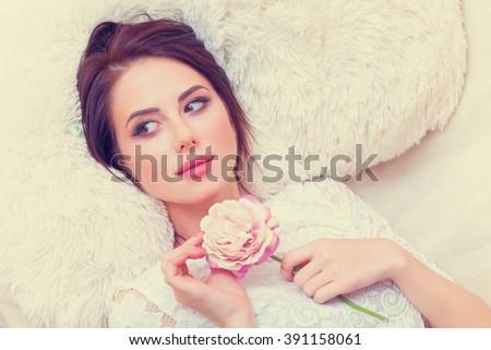 Belo mulher jovem rosa batom beleza compensar Foto stock © dolgachov