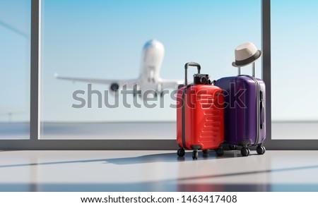 viaje · vacaciones · sombrero · cámara · pasaporte · avión - foto stock © karandaev
