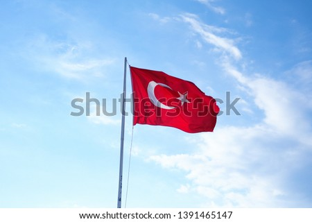 турецкий · флаг · небе · синий · белый - Сток-фото © boggy