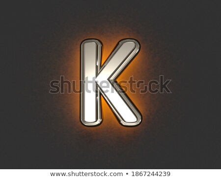 yellow outlined font letter k 3d stock photo © djmilic