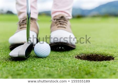 Weiblichen tätig Senior Scharfeinstellung Golfball Stock foto © lichtmeister