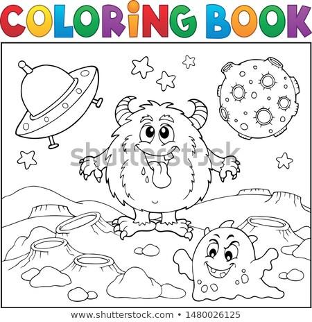 Ausmalbuch Monster Raum Buch Auge glücklich Stock foto © clairev