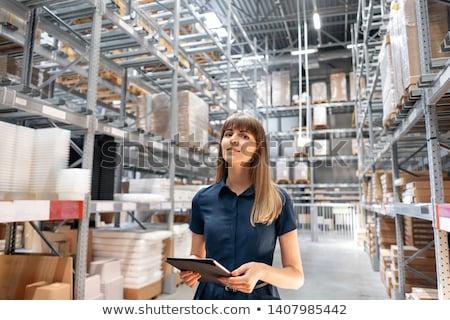 Bastante armazém gerente inventário bloco de notas negócio Foto stock © Lopolo