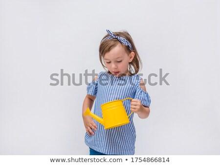 Um menina feliz regador ilustração mulher menina Foto stock © bluering