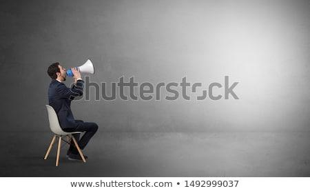бизнесмен пустой комнате пусто серый темно комнату Сток-фото © ra2studio