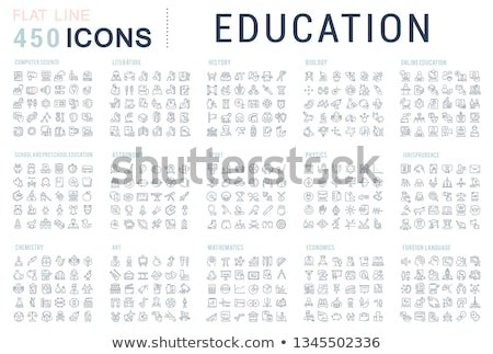 Academy Educational Collection Icons Set Vector Stock photo © pikepicture