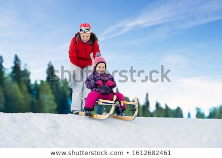 Mother Pushing Her Daughter On Sledge Stock photo © AndreyPopov