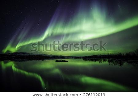 Islândia noite luar lanternas sonhador escuro Foto stock © Anna_Om