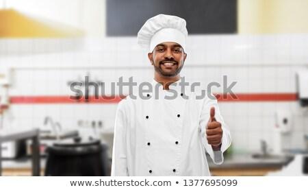 Gelukkig indian chef tonen kebab Stockfoto © dolgachov