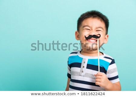 笑みを浮かべて 少年 黒 ヴィンテージ 口ひげ パーティ ストックフォト © dolgachov