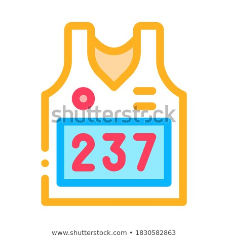 Vest with Personal Athlete Number Icon Vector Outline Illustration Stock photo © pikepicture