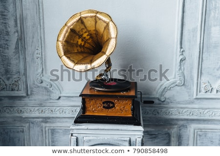 öreg lemezjátszó ősi fából készült fal antik Stock fotó © vkstudio