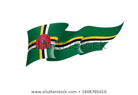 Dominica bandeira branco assinar onda fita Foto stock © butenkow