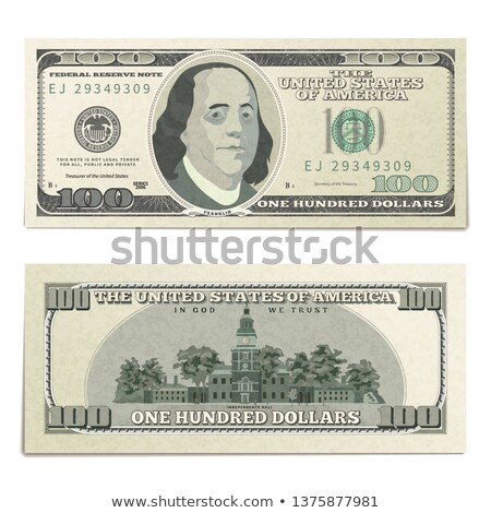 Realistic dummy one hundred USA dollars banknote, front and back detailed coupure on white Stock photo © evgeny89