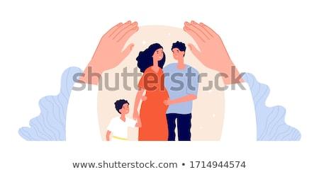 Pár terhesség ölel család védelem ház Stock fotó © yupiramos