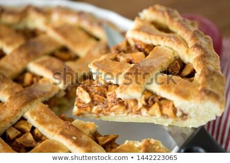 Appeltaart stuk keuken mes voedsel Stockfoto © dolgachov