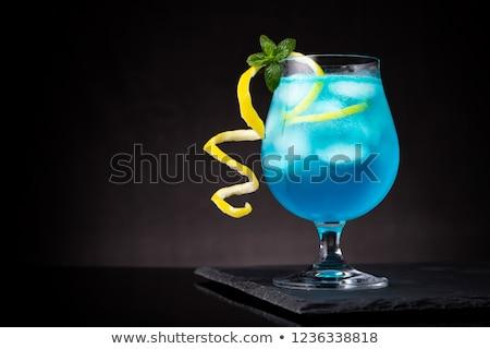 Blauw cocktail glas ijs Stockfoto © oblachko