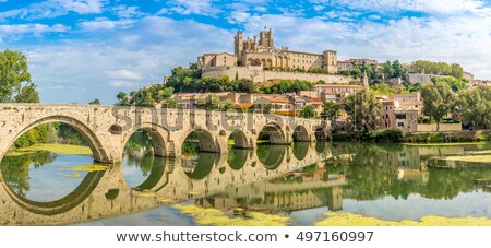 Beziers cathedral and old bridge Stock photo © cynoclub