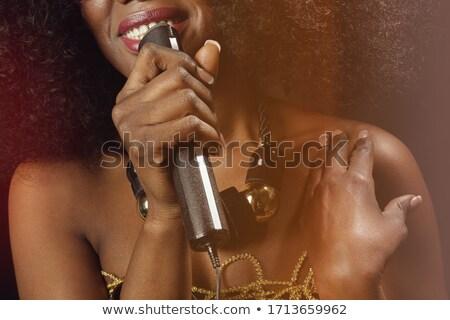 Stok fotoğraf: Güzel · siyah · kız · müzik · şarkı · söyleme · sahne