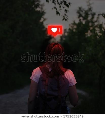 Kız orman güzel kız uzun saçlı sonbahar yağmurlu Stok fotoğraf © PetrMalyshev