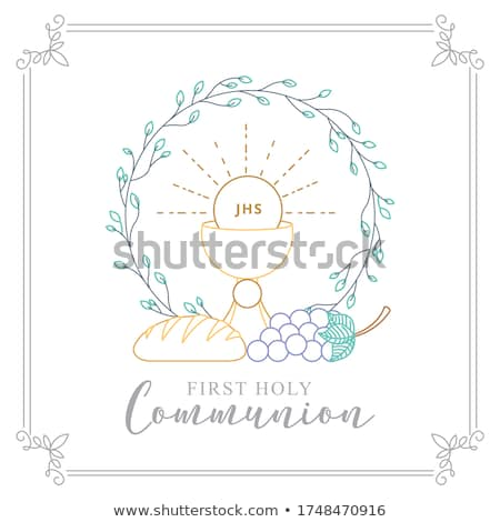 first holy communion invitation card stock photo © marimorena