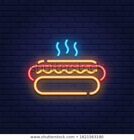 Neon hotdog felirat színes fény tyúk Stock fotó © piedmontphoto