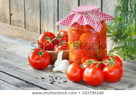 dobozos · paradicsomok · marinált · fűszer · fehér · étel - stock fotó © givaga