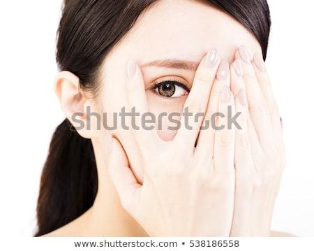 Photo stock: Asian · jeune · femme · couvrir · visage · mains